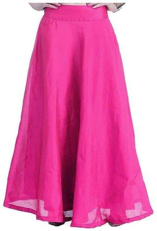 Shararat Nights Women's Long Indo Western Traditional Skirt (PINK)