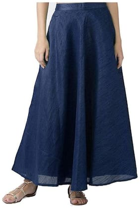 Shararat Nights Women's Long Indo Western Traditional Skirt (NAVY BLUE)