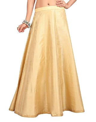 SHARARAT NIGHTS Solid A-line Skirt Maxi Skirt - Gold