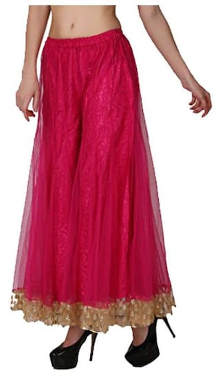 Shararat Readymade For Regular Stretchable Net With Size Women Palazzo Border Golden Flared Ladies Solid Free Stylish Girls Pants Fit wFCxZwqrt