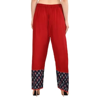 Printed Palazzo Regular Fit Ladies Pants Stylish Free Flared Readymade Stretchable Womens Cotton Size for Girls with Shararat Designer C8wvqIA