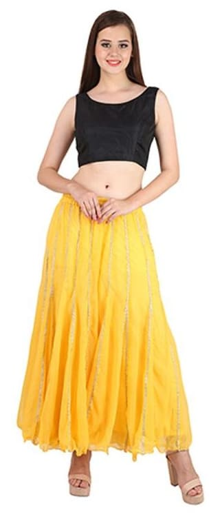 Shararat Stylish Flared Solid Readymade Regular Fit Stretchable Georgette Palazzo With Gotapatti Lace Free Size Pants For Girls / Ladies / Women