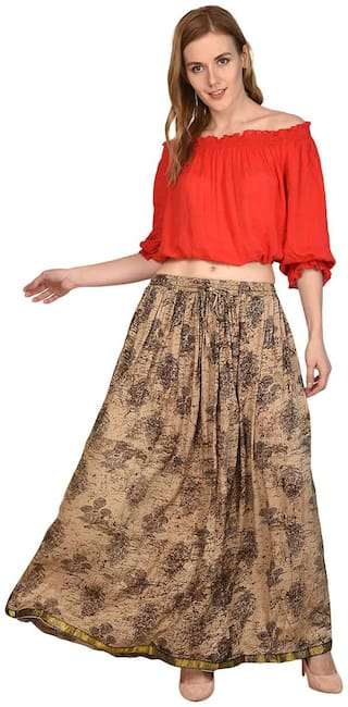 Shararat Stylish Designer Readymade Cotton Wrinkle Stretchable Skirt for Girls/Ladies/Women Party Wear Long Skirt Free Size