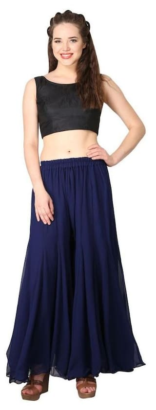 Shararat Stylish Flared Readymade Regular Fit Stretchable Georgette Palazzo Free Size Pants For Girls / Ladies / Womens