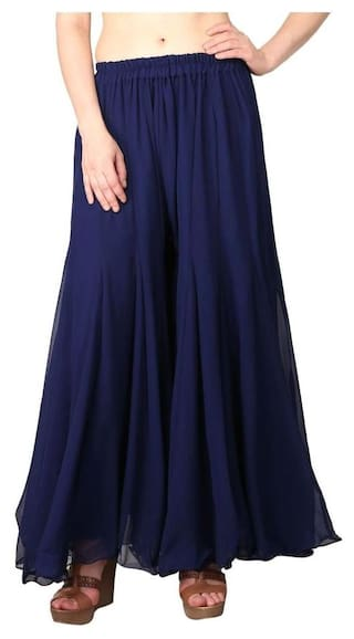 Size Stylish Fit Georgette Flared For Stretchable Womens Ladies Girls Pants Palazzo Shararat Regular Free Readymade zZCwZgq