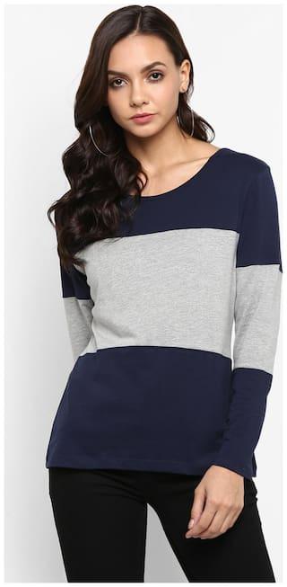 SharkTribe Women Blue & Grey Slim fit Round neck Cotton T shirt
