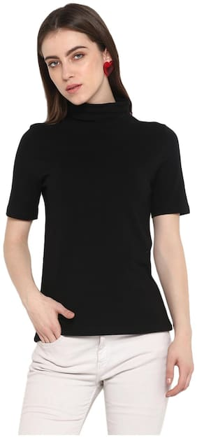 SharkTribe Women Black Regular fit High neck Cotton T shirt