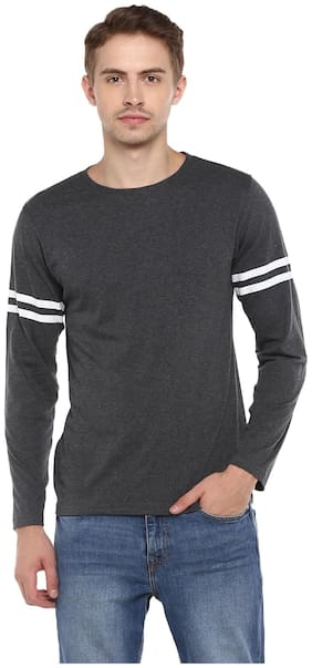 SharkTribe Men Grey Slim fit Cotton Round neck T-Shirt - Pack Of 1
