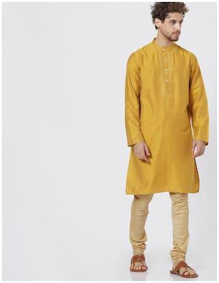 Shatranj Men Long Blended Solid Kurta - Mustard