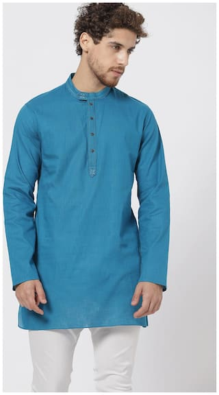 Shatranj Men Medium Cotton Solid Kurta - Blue