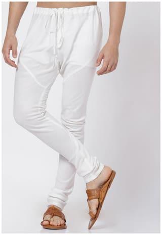 Shatranj Cotton Solid Churidar pyajama - White