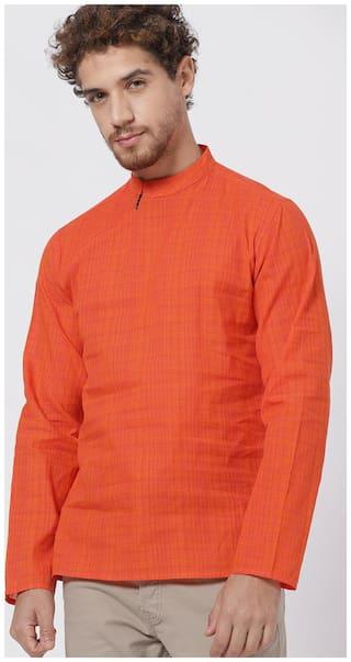 Shatranj Men Short Cotton Checked Kurta - Orange