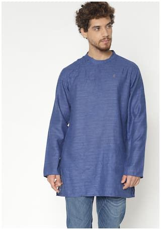 Shatranj Men Medium Cotton Printed Kurta - Blue