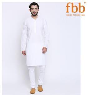 Shatranj Men Medium Cotton Solid Kurta - White