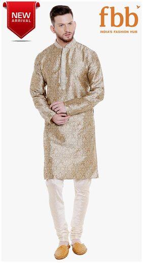 Shatranj Jacquard Mens Grey Kurta Pyjama Set