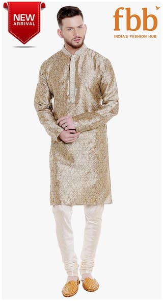 c215d76881a Shatranj Men Regular Fit Blended Full Sleeves Printed Kurta Pyjama - Beige