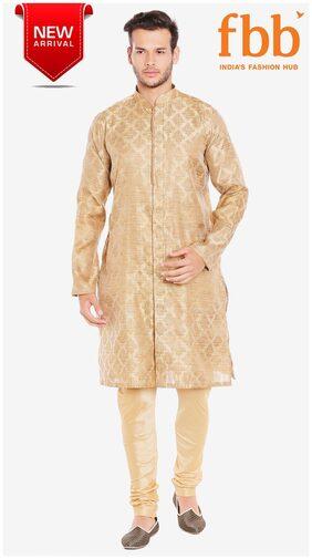 Shatranj Men Regular Fit Blended Full Sleeves Printed Kurta Pyjama - Beige