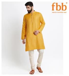 Shatranj Men Long Blended Solid Kurta - Yellow