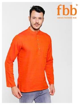 Shatranj Men Medium Blended Printed Kurta - Orange