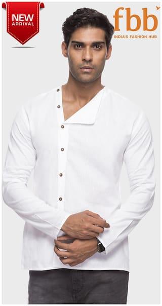 Shatranj Men White Solid Regular Fit Casual Shirt