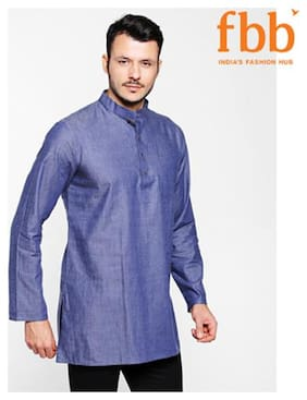 Shatranj Men Medium Cotton Solid Kurta - Blue
