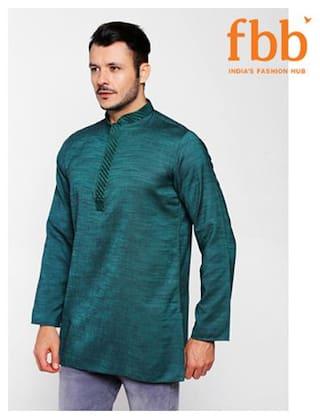 Shatranj Men Medium Blended Solid Kurta - Green