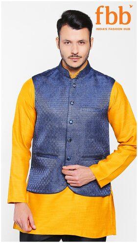 Shatranj Men Regular Fit Blended Sleeveless Printed Ethnic Jackets - Blue