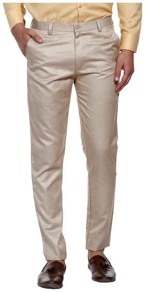 SHAURYA-F Men Solid Slim Fit Formal Trouser - Brown