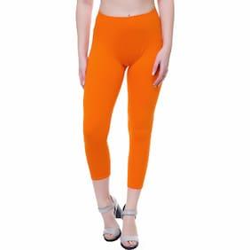 Shaurya-F Orange Cotton Solid Free Size Legging For Women