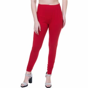 Shaurya-F Red Cotton Solid Free Size Legging For Women