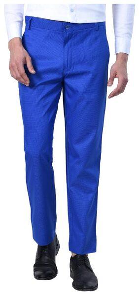 Shaurya_F Men light blue Self-design Slim Fit Semi Formal Trousers
