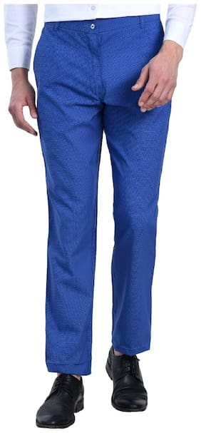 Shaurya_F Men blue Self-design Slim Fit Semi Formal Trousers