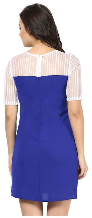 Shift Yoke Dress Blue Sheer Dress Sheer Shift Yoke Sheer Blue Shift Yoke Blue TIzwgAq