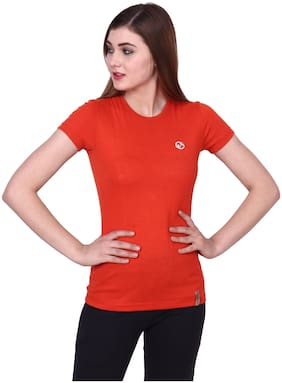 Shellocks Women Solid Sports T-Shirt - Red