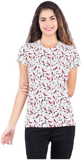 Shellocks Women Multi Regular fit Round neck Cotton T shirt