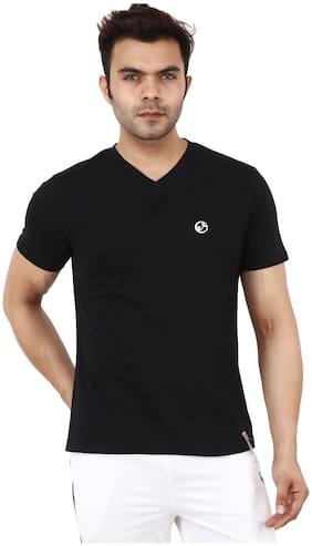 Shellocks Men Black Regular fit Cotton V neck T-Shirt - Pack Of 1