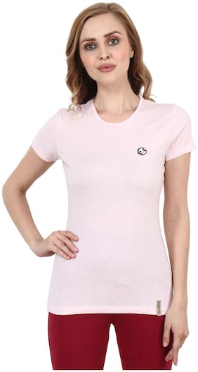 Shellocks Women Pink Regular fit Round neck Cotton T shirt