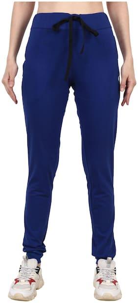 Shellocks Solid Cotton Hosiery Blue Women Joggers with Bottom Rib