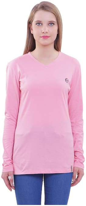 Shellocks Women Pink Regular fit V neck Cotton T shirt