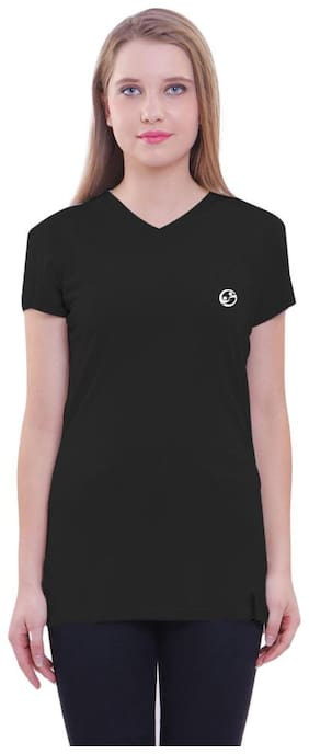 Shellocks Women Black Regular fit V neck Cotton T shirt