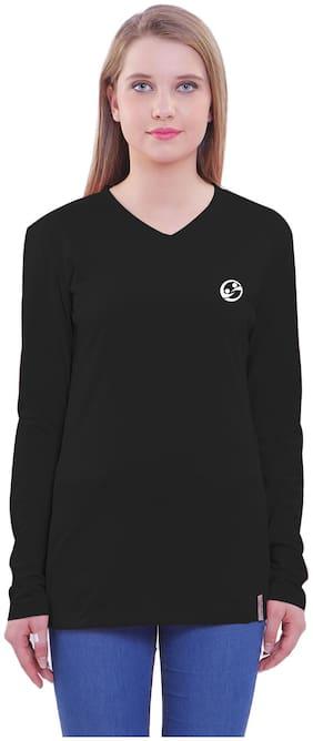 Shellocks Women Black Regular fit V neck Cotton T shirt