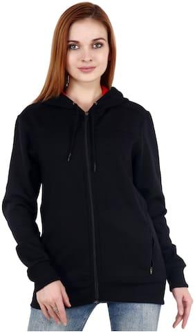 Shellocks Women Solid Sweatshirt - Black