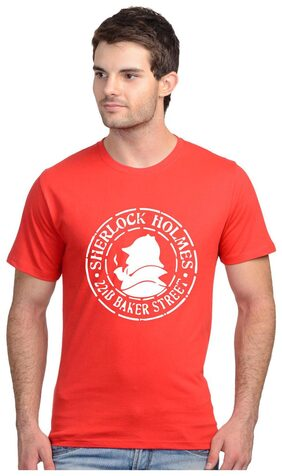 TEE STORES Men Regular Fit Round Neck Solid T-Shirt - Red