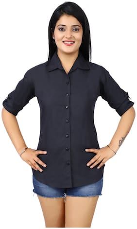SHIMU Women Regular fit Solid Shirt - Black