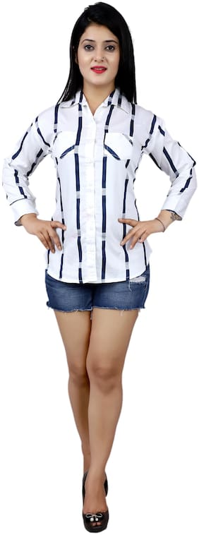 SHIMU Women Regular fit Striped Shirt - White & Blue