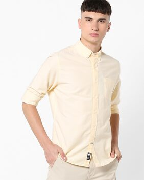 Netplay By Reliance Trends Men Slim Fit Casual shirt - Yellow