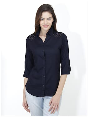Mayra Women Blue Solid Regular Fit Shirt