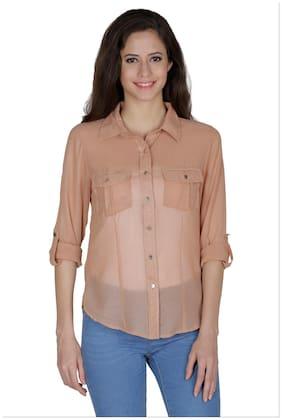 Mayra Women Brown Solid Regular Fit Shirt