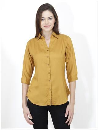 Mayra Women Yellow Solid Slim Fit Shirt