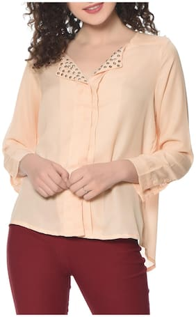 HRIKSHIKA FASHION Women Loose fit Solid Shirt - Beige